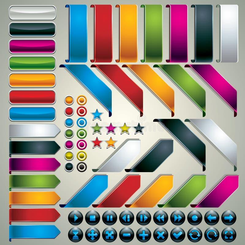 Conjunto de elementos del diseño de Web. ilustración del vector