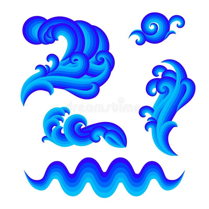 Conjunto de elementos del diseño del agua ilustración del vector