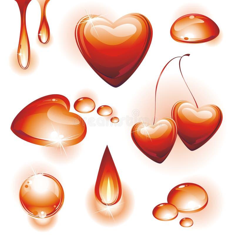 Conjunto de elementos del diseño del agua roja. ilustración del vector