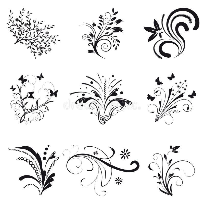 Conjunto de elementos del diseño floral stock de ilustración