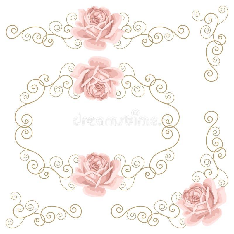 Conjunto de elementos del diseño floral libre illustration