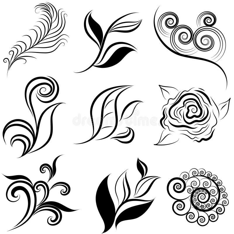Conjunto de elementos del hoja y de instalaciones del diseño stock de ilustración