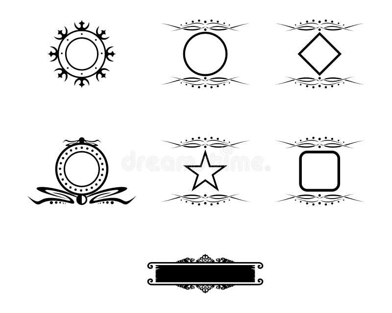 Conjunto de elementos de diseño de marcos vintage negros stock de ilustración