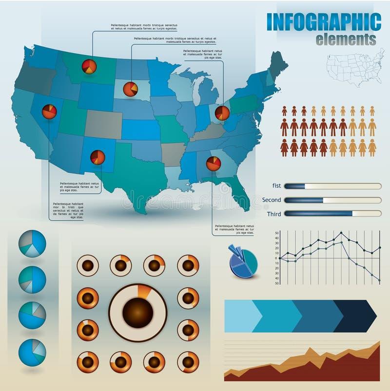 Conjunto de elementos infographic stock de ilustración