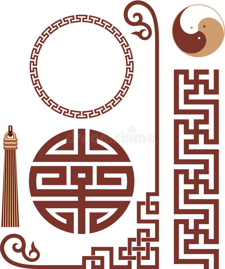 Conjunto de elementos orientales del diseño libre illustration