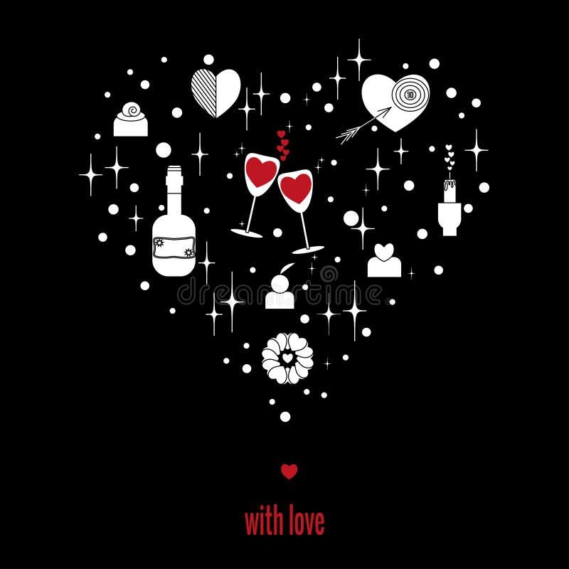 Conjunto de elementos para romance e amor em forma de coração sobre fundo negro Desenho vetorial em estilo outlinear ilustração royalty free