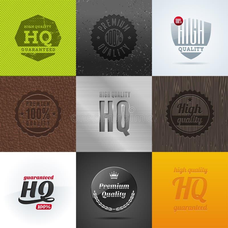 Conjunto de emblemas y de muestras de la alta calidad libre illustration