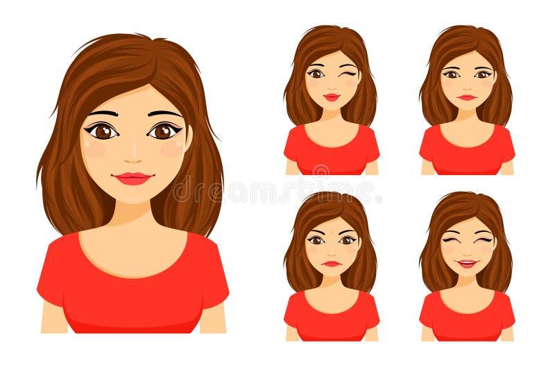 Conjunto de emociones La muchacha linda joven muestra diversas emociones El ligar, el besarse, enojado, divertido, infeliz ilustración del vector