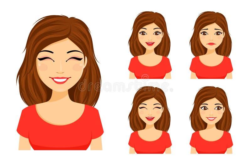 Conjunto de emociones La muchacha linda joven muestra diversas emociones Triste, sorprendido, feliz, riendo ilustración del vector