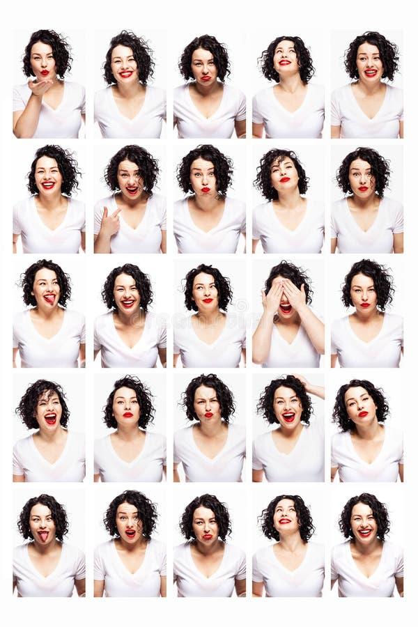Conjunto de emociones de una joven mujer hermosa Brunette brillante con pelo rizado y pintalabios rojos Fondo blanco imagen de archivo