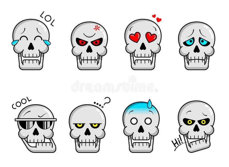 Conjunto de emoticonos para calaveras ilustración del vector
