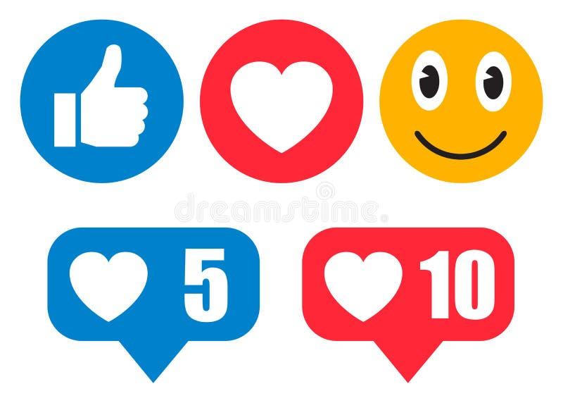 Conjunto de emoticons Icono social de las reacciones de la red de Emoji Los smilies amarillos, fijaron la emoción sonriente, por  libre illustration