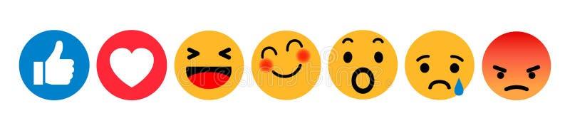 Conjunto de emoticons Icono social de las reacciones de la red de Emoji Los smilies amarillos, fijaron la emoción sonriente, por  stock de ilustración