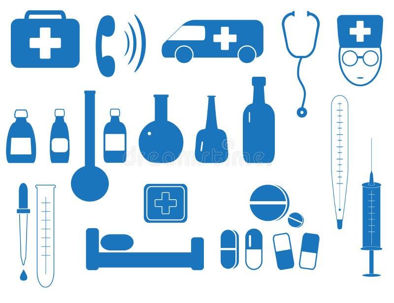 Conjunto de equipo de la medicina stock de ilustración