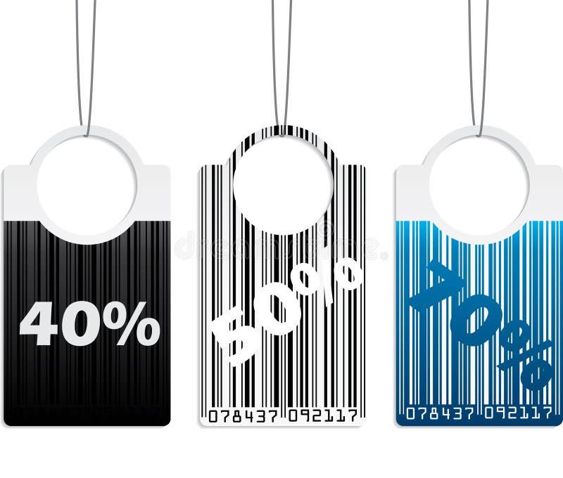 Conjunto de escritura de la etiqueta con código de barras stock de ilustración