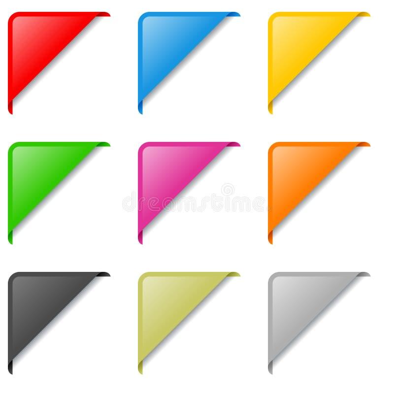 Conjunto De Escrituras De La Etiqueta De La Esquina Colorido Fotografía de archivo