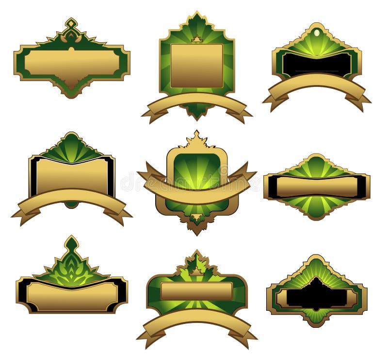 Conjunto de escrituras de la etiqueta de la vendimia del oro ilustración del vector