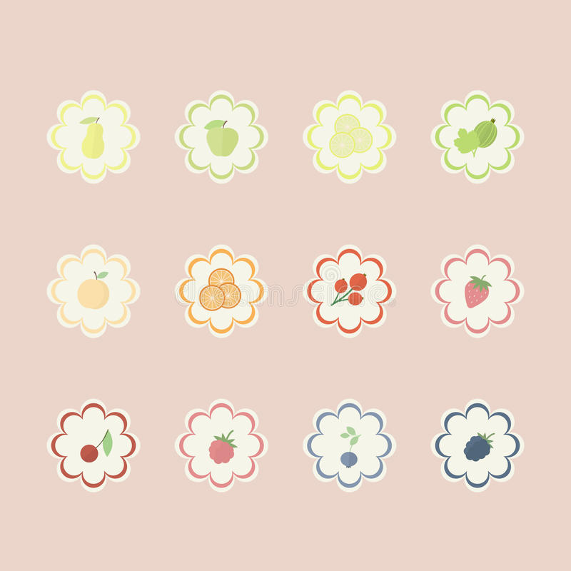 Conjunto de escrituras de la etiqueta de las frutas y de las bayas stock de ilustración