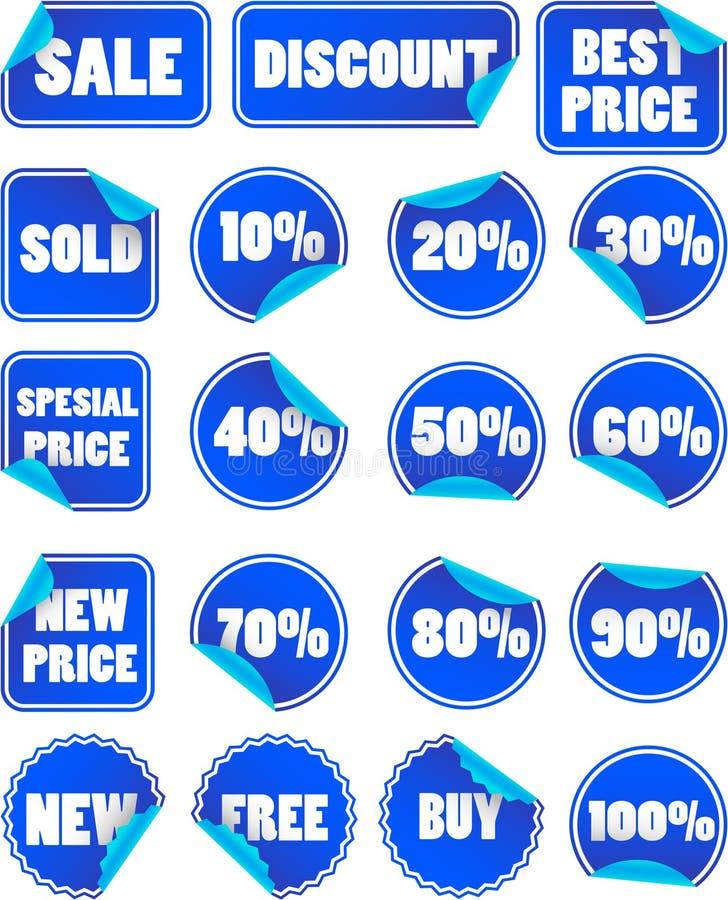 Conjunto de escrituras de la etiqueta de precio azules de descuento stock de ilustración