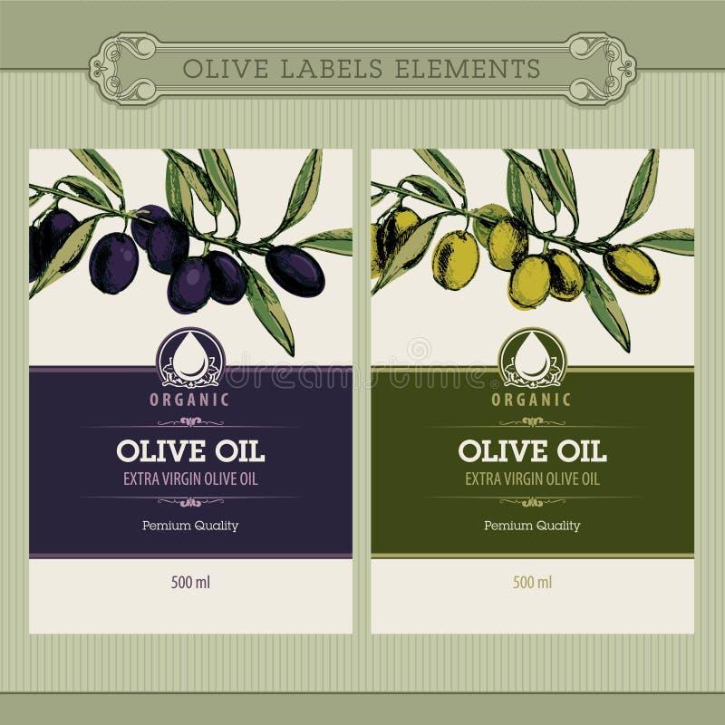 Conjunto de escrituras de la etiqueta del aceite de oliva stock de ilustración