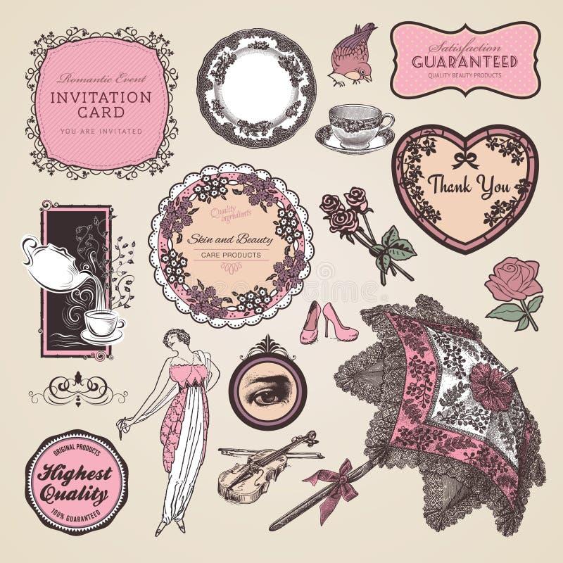 Conjunto de escrituras de la etiqueta y de elementos de la vendimia stock de ilustración