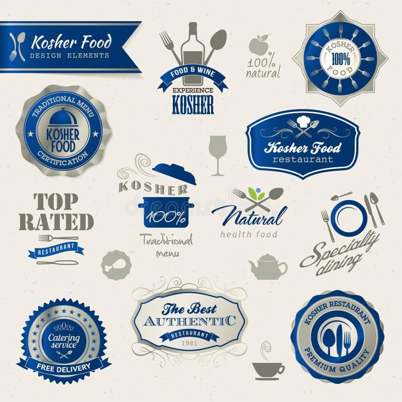 Conjunto de escrituras de la etiqueta y de elementos para el alimento kosher stock de ilustración