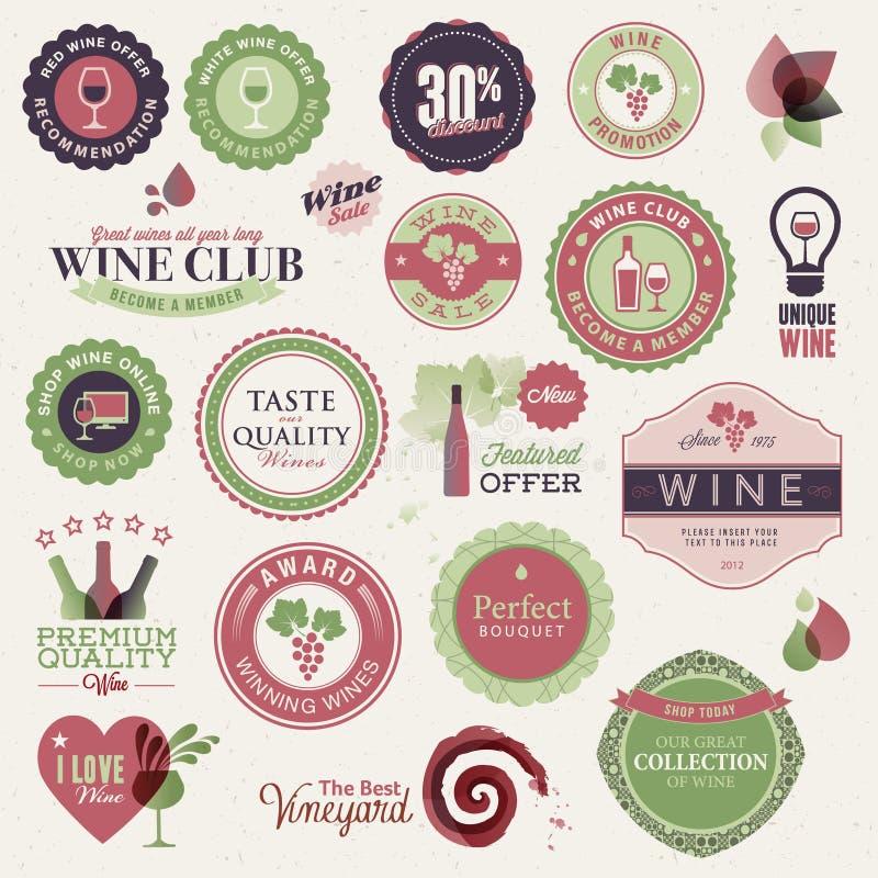 Conjunto de escrituras de la etiqueta y de elementos para el vino stock de ilustración