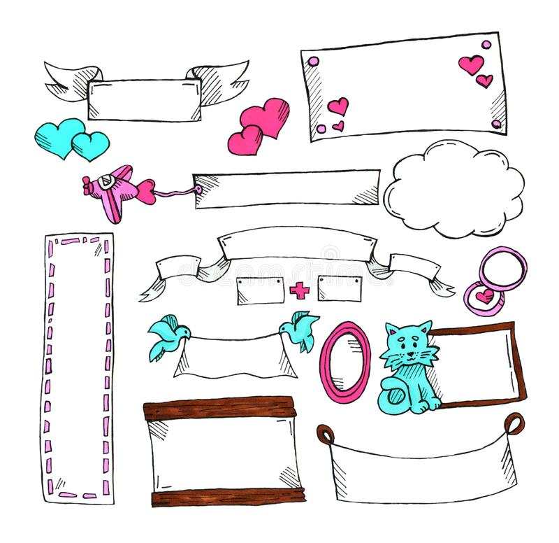 Conjunto de escrituras de la etiqueta sin texto para la postal y los regalos St Día del ` s de la tarjeta del día de San Valentín libre illustration