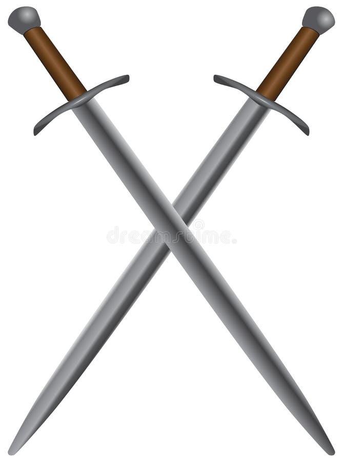 Conjunto de espadas medievales ilustración del vector