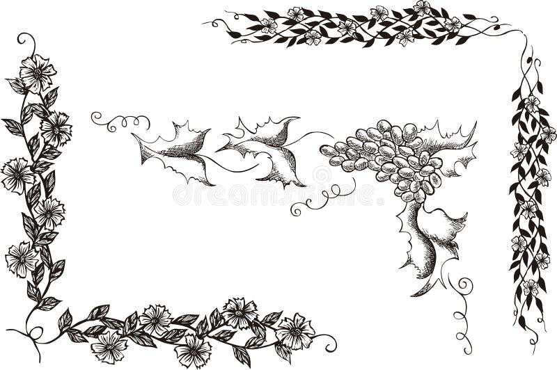 Conjunto de esquinas decorativas florales ilustración del vector