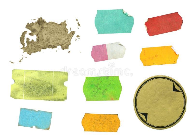 Conjunto de etiquetas adhesivas sucias imagen de archivo