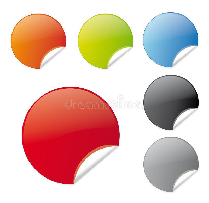 Conjunto de etiquetas coloridas stock de ilustración