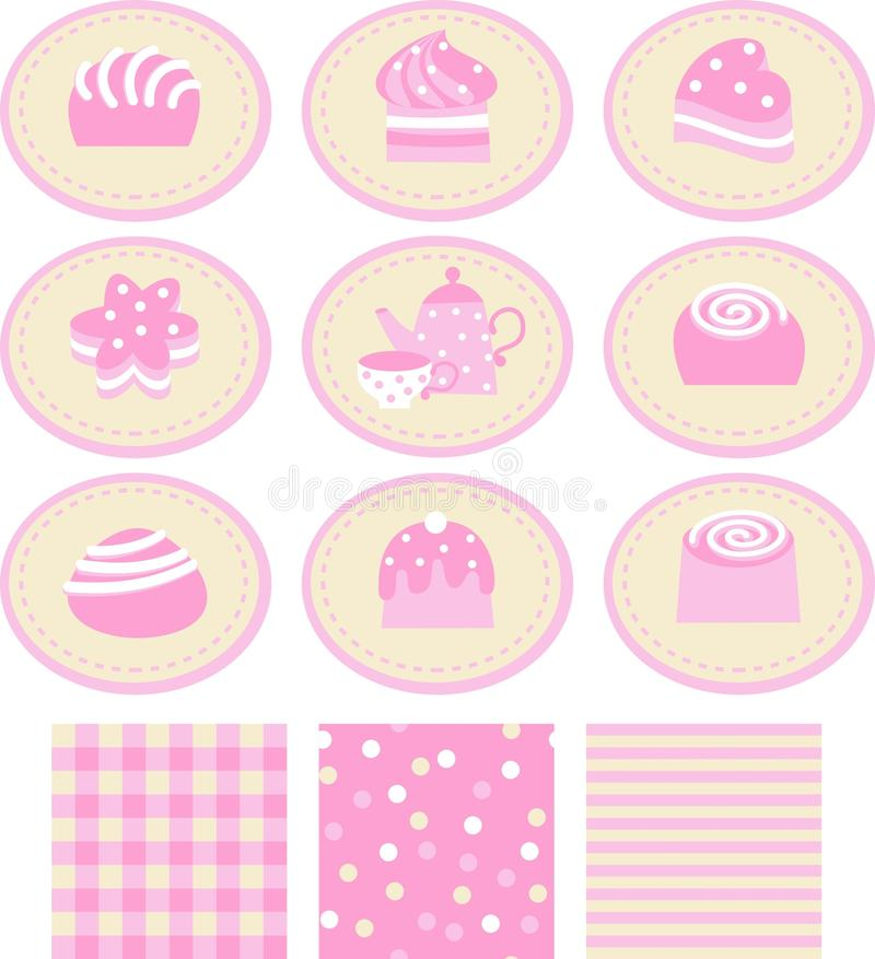 Conjunto de etiquetas engomadas con un dulce stock de ilustración