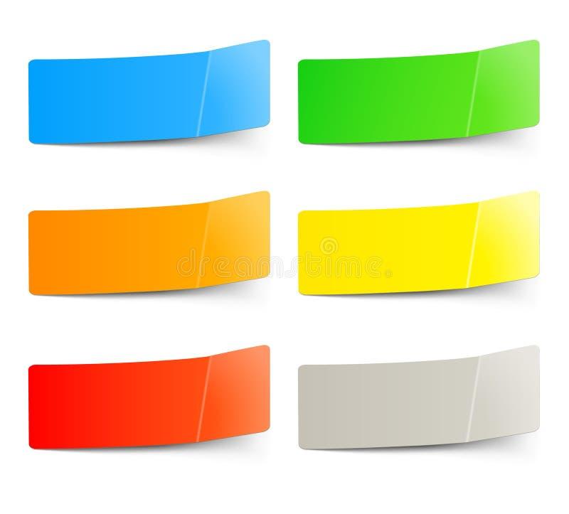 Conjunto de etiquetas engomadas multicoloras stock de ilustración