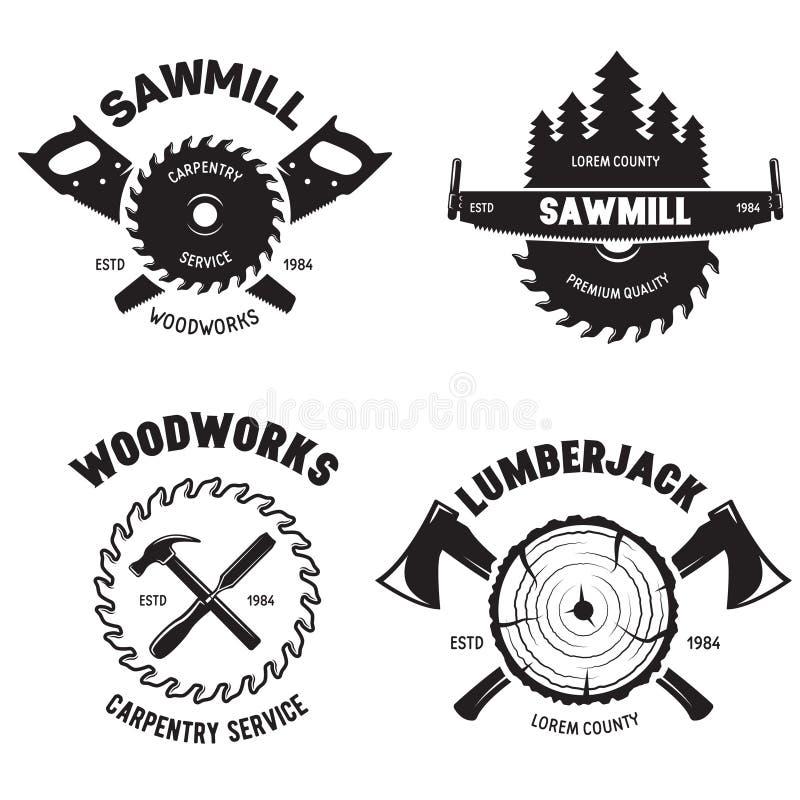 Conjunto de etiquetas isoladas de lumberjack com pequenas composições de madeira de carpintaria de estilo retrô Ilustração vetori ilustração royalty free