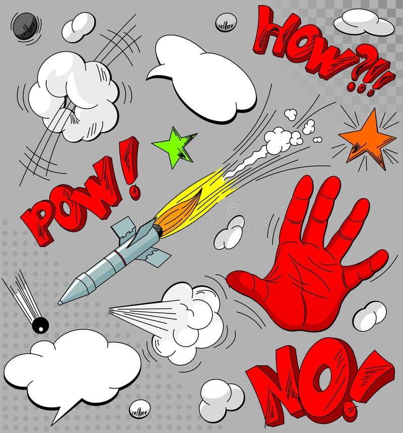 Conjunto de explosiones del cómic stock de ilustración