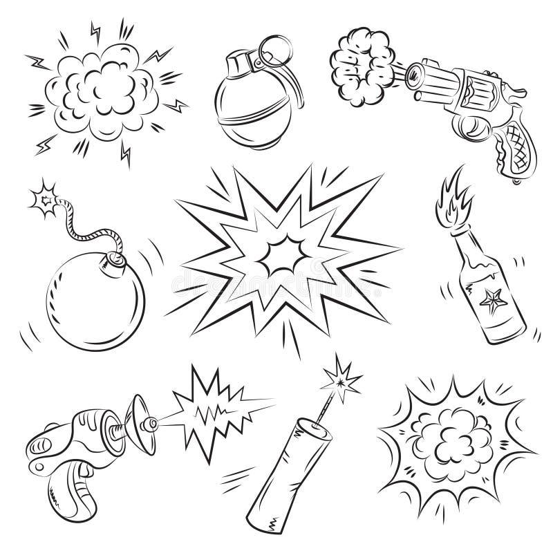 Conjunto de explosivos y del arma ilustración del vector
