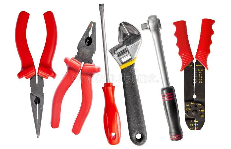 Conjunto de ferramentas de chave, de chave inglesa ajustável, de alicates e de chave de fenda imagem de stock royalty free