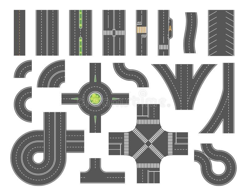 Conjunto de ferramentas do mapa de estradas - grupo de elementos modernos da cidade do vetor ilustração stock