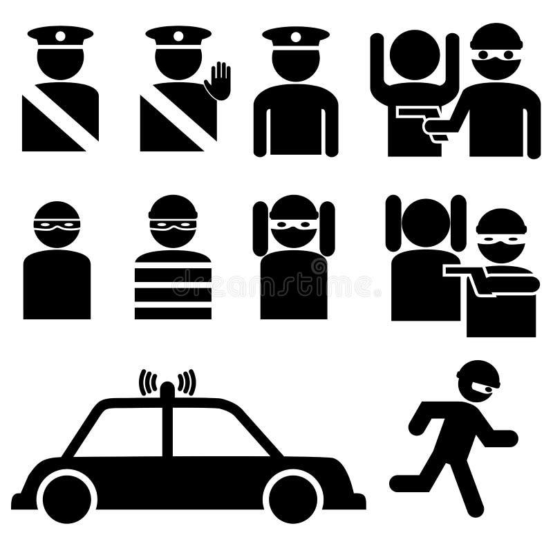 Conjunto de figuras del palillo del ladrón y del oficial de policía stock de ilustración