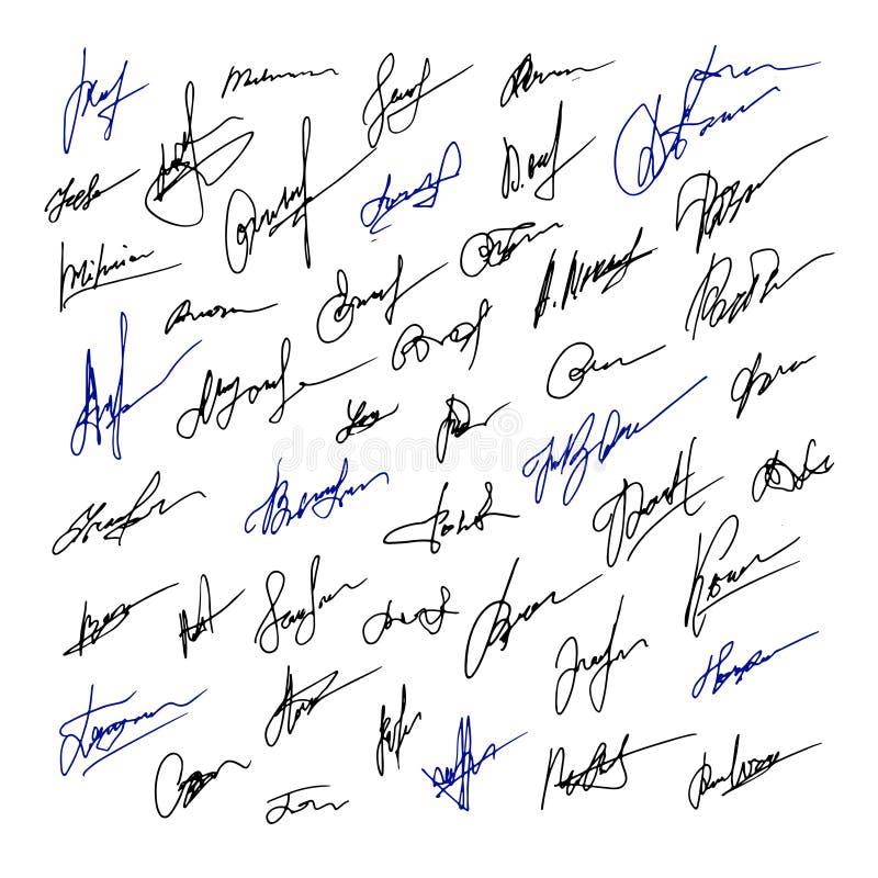 Conjunto de firmas de ejemplo del negocio Ilustración drenada mano del vector stock de ilustración