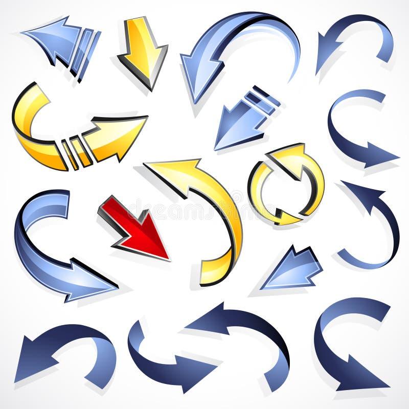 Conjunto de flechas direccionales ilustración del vector