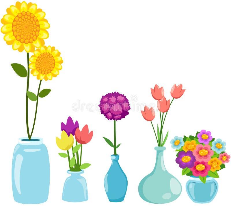 Conjunto de flores en floreros ilustración del vector