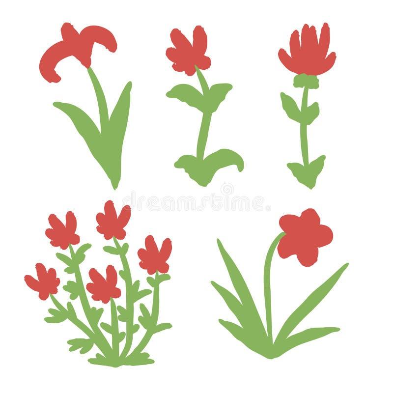 Conjunto de flores vermelhas desenhadas à mão isoladas sobre fundo branco ilustração do vetor