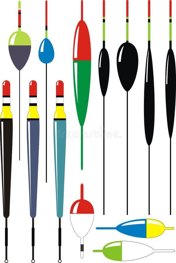 Conjunto de flotadores de la pesca stock de ilustración