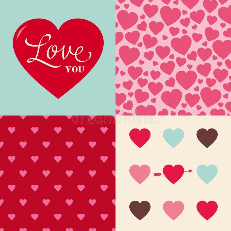 Conjunto de fondo del modelo del corazón de la tarjeta del día de San Valentín de la boda libre illustration