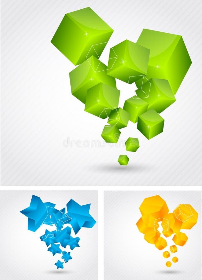 Conjunto de fondos con el elemento 3d libre illustration