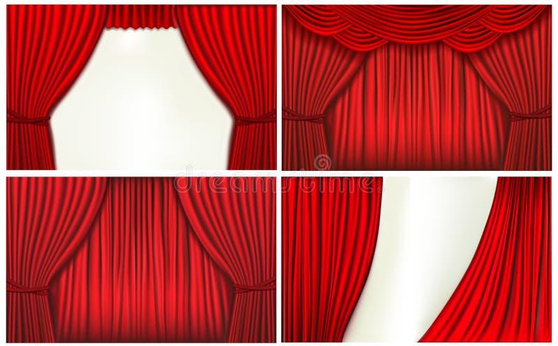 Conjunto de fondos con la cortina roja del terciopelo libre illustration