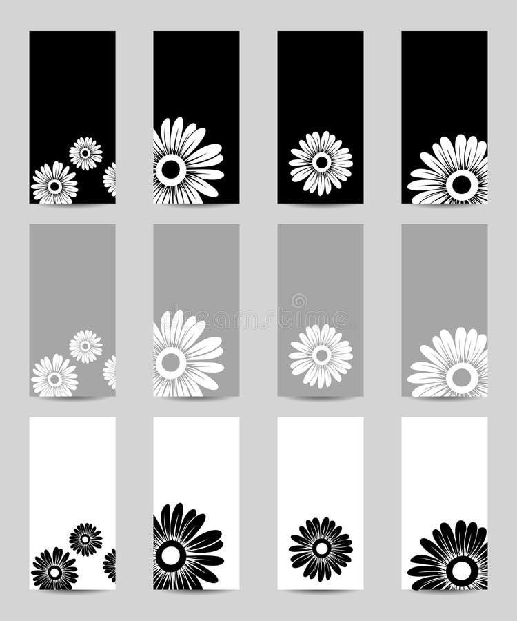 Conjunto de fondos con la margarita. ilustración del vector