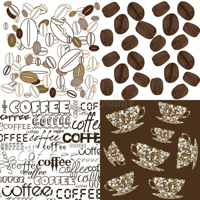 Conjunto de fondos con los granos de café libre illustration